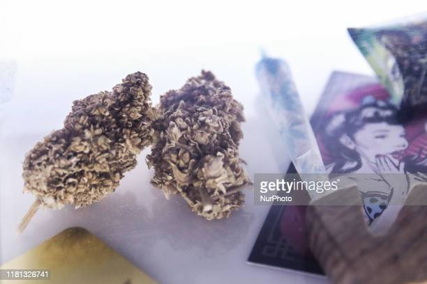 Legal cannabis products are seen in legally operating Cannabis Shop in Krakow, Poland on November 9 2019.