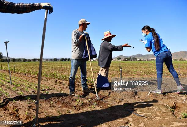 Legal Center worker Alejandra Santana notes information from a farmworker at a COVID-19 vaccine information clinic for farmworkers on March 30, 2021...