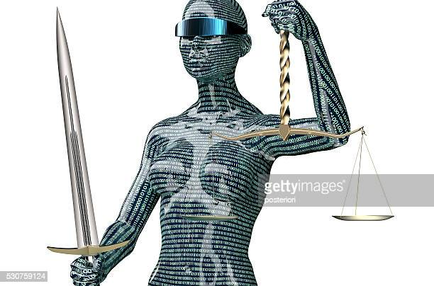 legal computer judge concept, lady justice isolated on white