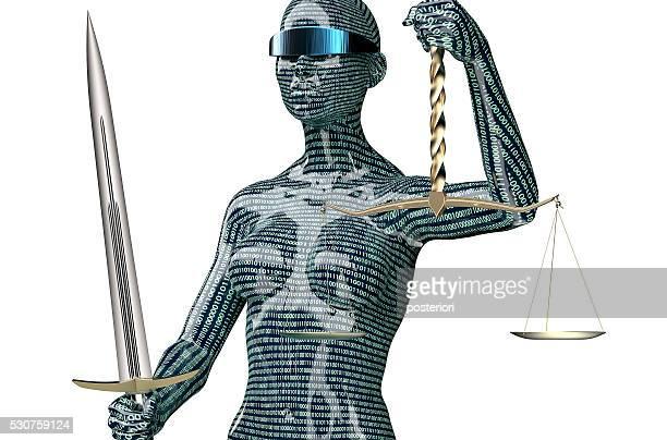 Informatique concept juridique évaluer, justice seul sur blanc