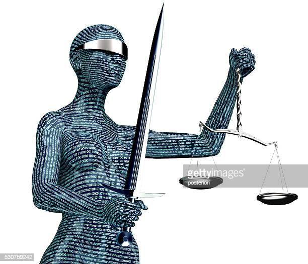 legal computer judge concept, lady justice isolated on white - lady justice stock pictures, royalty-free photos & images