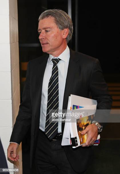 Legal Counsel Jeff Gleeson arrives at the AFL Appeals Board Hearing into intentional contact with an umpire by Charlie Curnow and his brother Ed...
