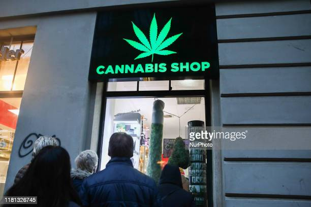 Legally operating Cannabis Shop, selling hemp products, in Krakow, Poland on November 9 2019.