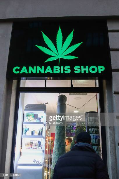 Legally operating Cannabis Shop selling hemp products in Krakow Poland on November 9 2019