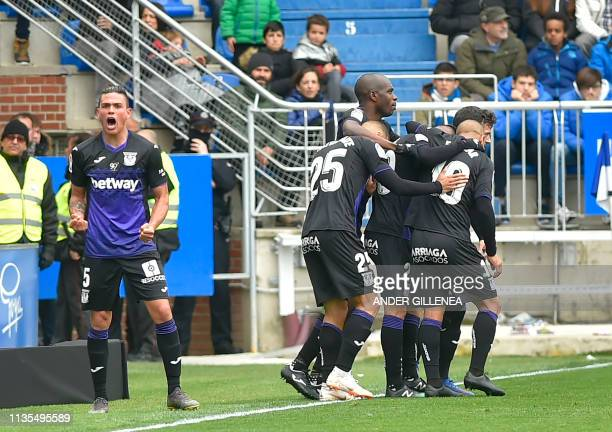 Leganes' Argentinian defender Jonathan Silva celebrates after scoring during the Spanish league football match between Deportivo Alaves and CD...