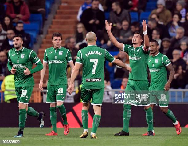 Leganes' Brazilian midfielder Gabriel Appelt celebrates a goal during the Spanish 'Copa del Rey' quarterfinal second leg football match between Real...