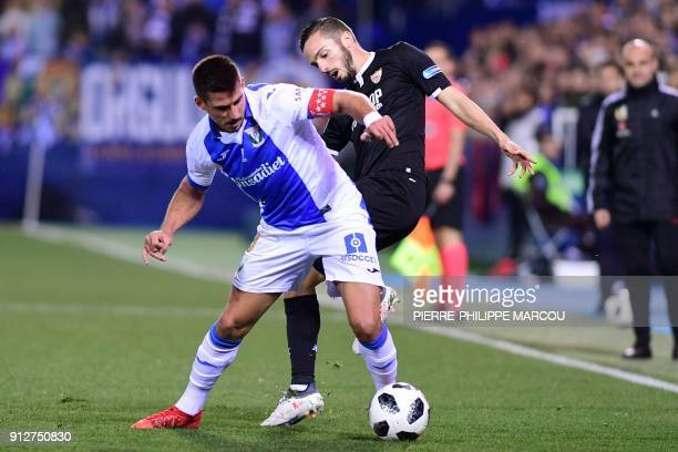 Legane´s Brazilian midfielder Gabriel Pires vies with Sevilla's Spanish midfielder Pablo Sarabia during the Spanish 'Copa del Rey' first leg...