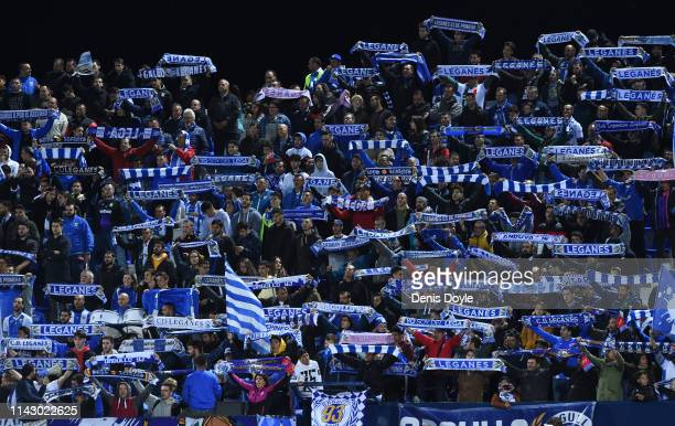 Leganes fans cheer on their team during the La Liga match between CD Leganes and Real Madrid CF at Estadio Municipal de Butarque on April 15, 2019 in...