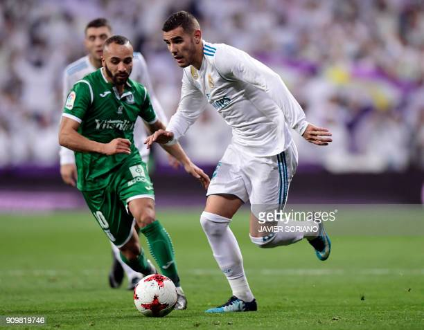 Leganes' Moroccan forward Nabil El Zhar vies with Real Madrid's French defender Theo Hernandez during the Spanish 'Copa del Rey' quarterfinal second...