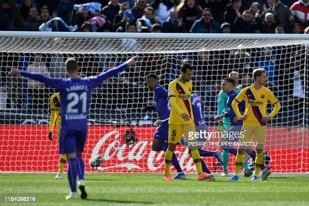 Leganes' Moroccan forward Youssef EnNesyri celebrates after scoring during the Spanish league football match Club Deportivo Leganes SAD against FC...