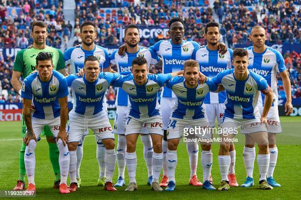 Leganes players line up prior to the Liga match between Levante UD and CD Leganes at Ciutat de Valencia on February 8, 2020 in Valencia, Spain.