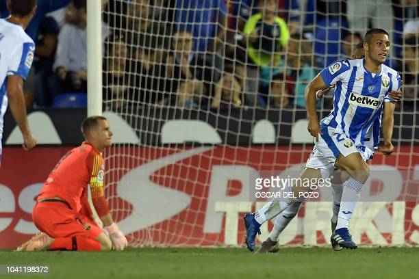Leganes' Spanish midfielder Oscar Rodriguez celebrates scoring his team's second goal during the Spanish league football match Club Deportivo Leganes...