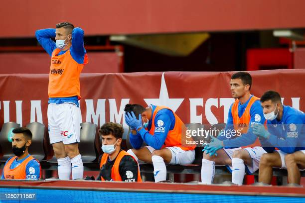 Leganes substitute players show their dejection during the Liga match between RCD Mallorca and CD Leganes at Visit Mallorca stadium on June 19, 2020...