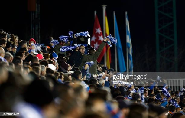 STADIUM LEGANéS MADRID SPAIN Leganes supportes during the match Jan 2018 Leganés and Real Madrid CF at Butarque Stadium Copa del Rey Quarter Final...