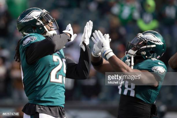 LeGarrette Blount and Kenjon Barner of the Philadelphia Eagles dance during warms up prior to the game against the Chicago Bears at Lincoln Financial...