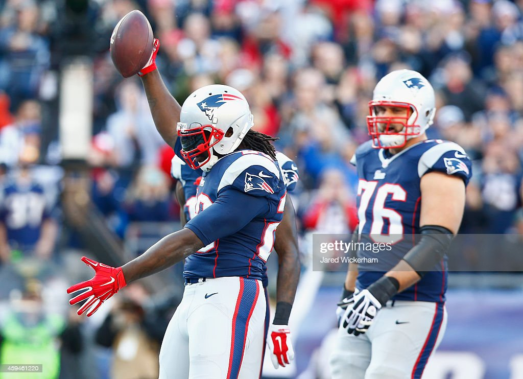 LeGarrette Blount #29 f the New England Patriots reacts after scoring a touchdown during the second quarter against the Detroit Lions at Gillette Stadium on November 23, 2014 in Foxboro, Massachusetts.