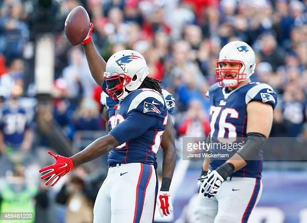 LeGarrette Blount f the New England Patriots reacts after scoring a touchdown during the second quarter against the Detroit Lions at Gillette Stadium...