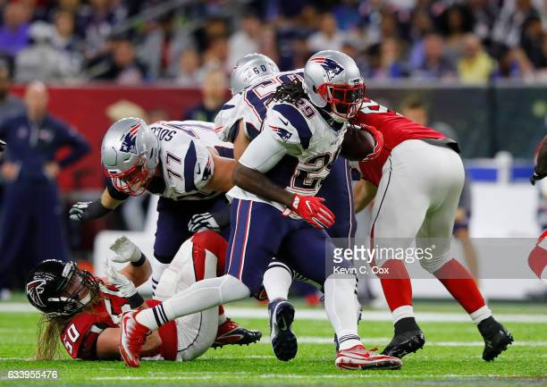 LeGarrette Blount of the New England Patriots carries the ball during the fourth quarter against the Atlanta Falcons during Super Bowl 51 at NRG...