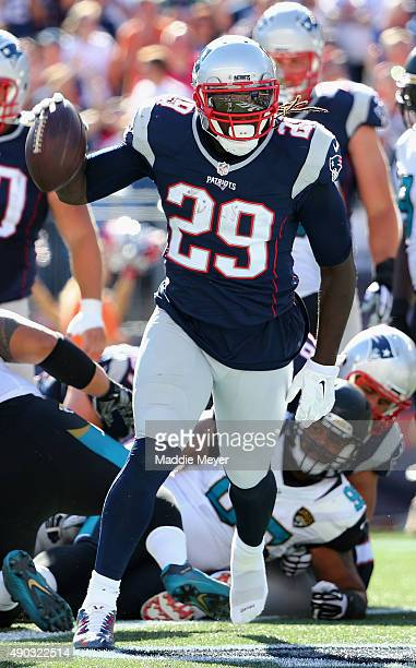 LeGarrette Blount of the New England Patriots celebrates after scoring a touchdown in the third quarter against the Jacksonville Jaguars at Gillette...