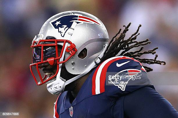 LeGarrette Blount of the New England Patriots reacts after scoring a touchdown during the fourth quarter against the Houston Texans at Gillette...