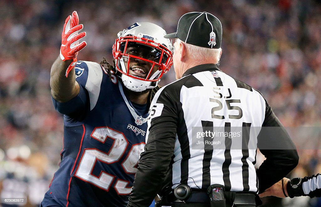 LeGarrette Blount #29 of the New England Patriots reacts with the official during the fourth quarter of a game against the Seattle Seahawks at Gillette Stadium on November 13, 2016 in Foxboro, Massachusetts.
