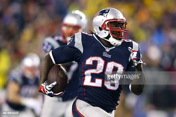 LeGarrette Blount of the New England Patriots runs a 73 yard touchdown in the fourth quarter against the Indianapolis Colts during the AFC Divisional...
