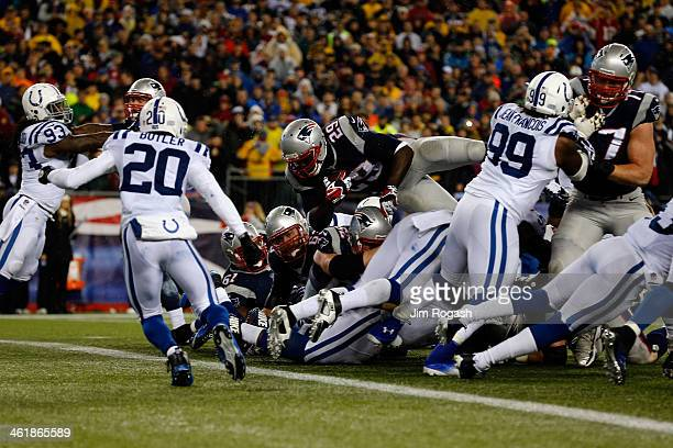 LeGarrette Blount of the New England Patriots scores a 2 yard touchdown in the second quarter against the Indianapolis Colts during the AFC...