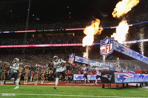 LeGarrette Blount of the New England Patriots takes the field prior to Super Bowl 51 against the Atlanta Falcons at NRG Stadium on February 5 2017 in...