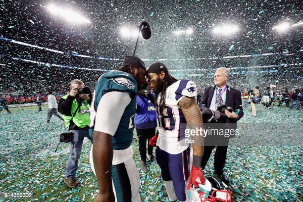 LeGarrette Blount of the Philadelphia Eagles and Brandon Bolden of the New England Patriots greet each other after the Eagles defeated the Patriots...