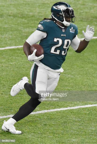 LeGarrette Blount of the Philadelphia Eagles carries the ball against the New England Patriots during Super Bowl LII at US Bank Stadium on February 4...