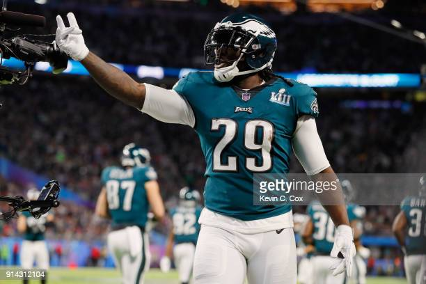 LeGarrette Blount of the Philadelphia Eagles reacts after his 21-yard touchdown reception during the second quarter against the New England Patriots...