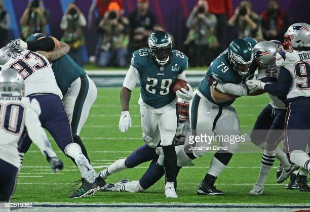 LeGarrette Blount of the Philadelphia Eagles runs against the New England Patroits during Super Bowl Lll at US Bank Stadium on February 4 2018 in...