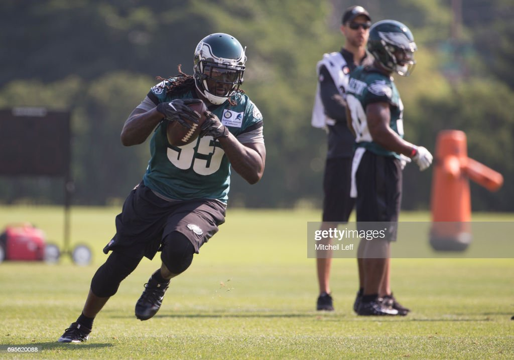 LeGarrette Blount #35 of the Philadelphia Eagles runs with the ball during mandatory minicamp at the NovaCare Complex on June 13, 2017 in Philadelphia, Pennsylvania.