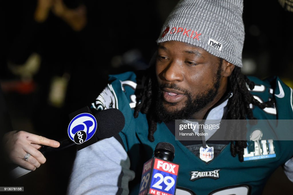 LeGarrette Blount #29 of the Philadelphia Eagles speaks to the media during Super Bowl LII media availability on February 1, 2018 at Mall of America in Bloomington, Minnesota. The Philadelphia Eagles will face the New England Patriots in Super Bowl LII on February 4th.