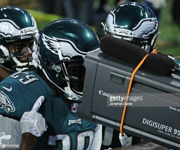 LeGarrette Blount of the Philadelphia Eagles sticks his face into a tv camera after scoring a touchdown against the New England Patriots during Super...