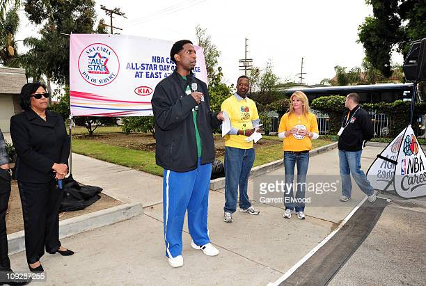 Legend AC Green speaks to a crowd during a NBA Cares AllStar Day of Service on February 18 2011 in Los Angeles California NOTE TO USER User expressly...