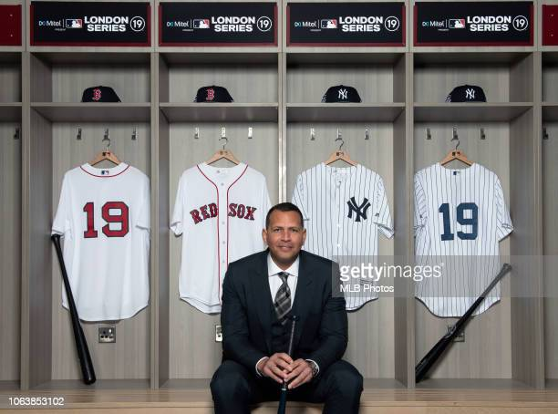 Legend Alex Rodriguez is seen promoting the Mitel MLB Present London Series on Monday November 19 2018 in London England
