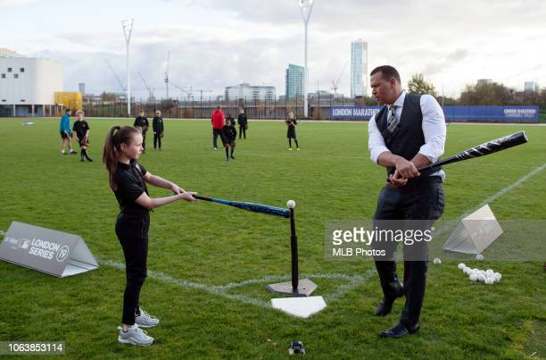 Legend Alex Rodriguez is seen supporting MLB Baseball Clinic at London Stadium on Monday November 19 2018 in London England