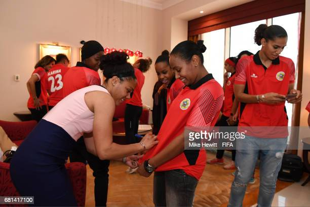 Legend Alex Scott signs autgraphs for players of the Bahrain Women's National team at the Diplomat Radisson BLU hotel ahead of the 67th FIFA Congress...