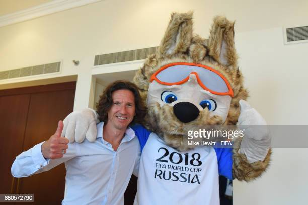 Legend Alexey Smertin poses for a photo with Zabivaka, the Official Mascot for the 2018 FIFA World Cup Russia, in the Diplomat Radisson BLU hotel,...