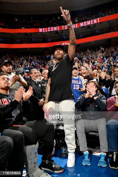 NBA legend Allen Iverson attends the game between the Cleveland Cavaliers and the Philadelphia 76ers on March 12 2019 at the Wells Fargo Center in...