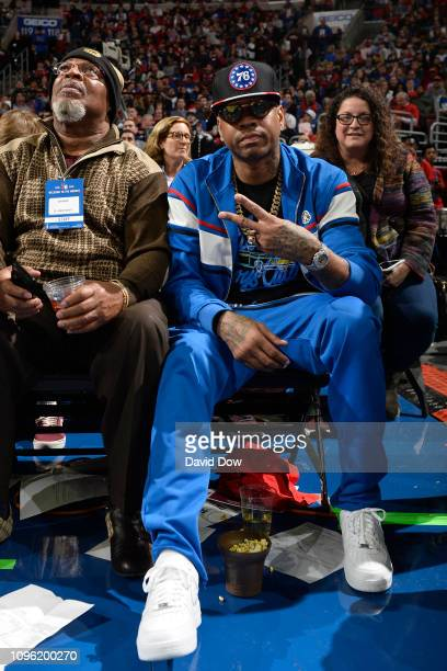 NBA legend Allen Iverson attends the game between the Denver Nuggets and the Philadelphia 76ers on February 8 2019 at the Wells Fargo Center in...
