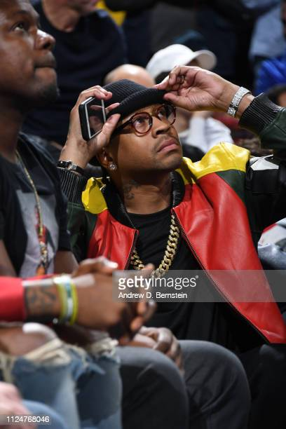 NBA legend Allen Iverson attends the game between the Los Angeles Lakers and the Philadelphia 76ers on February 10 2019 at the Wells Fargo Center in...
