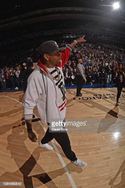 NBA legend Allen Iverson attends the game between the Toronto Raptors and the Philadelphia 76ers on February 5 2019 at the Wells Fargo Center in...