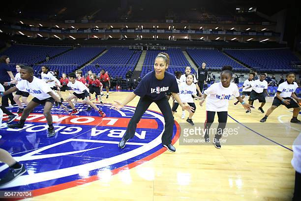 Legend Allison Feaster interacts with the kids during the Jr NBA clinic as part of the 2016 Global Games London on January 13 2016 at The O2 Arena in...