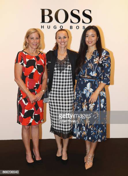 WTA Legend Ambassador Chris Evert of the United States Martina Hingis of Switzerland and Chan YungJan of Chinese Taipei visit a Hugo Boss store...