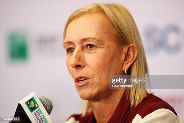 Legend Ambassador Martina Navratilova of the United States attends a press conference during day 7 of the BNP Paribas WTA Finals Singapore at...