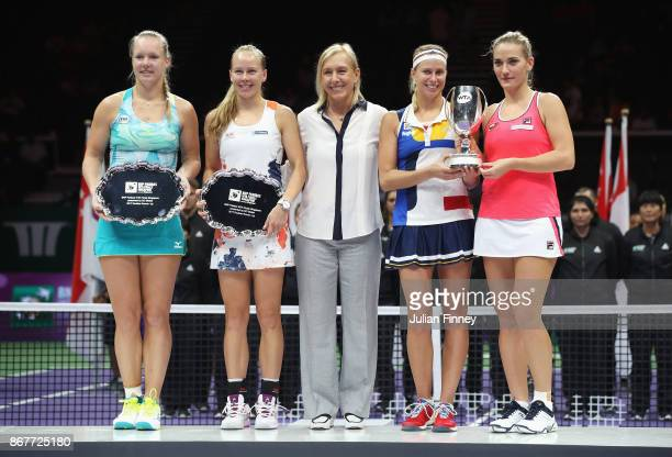 Legend Ambassador Martina Navratilova poses with runners up Kiki Bertens of Netherlands and Johanna Larsson of Sweden and winners Andrea Hlavackova...