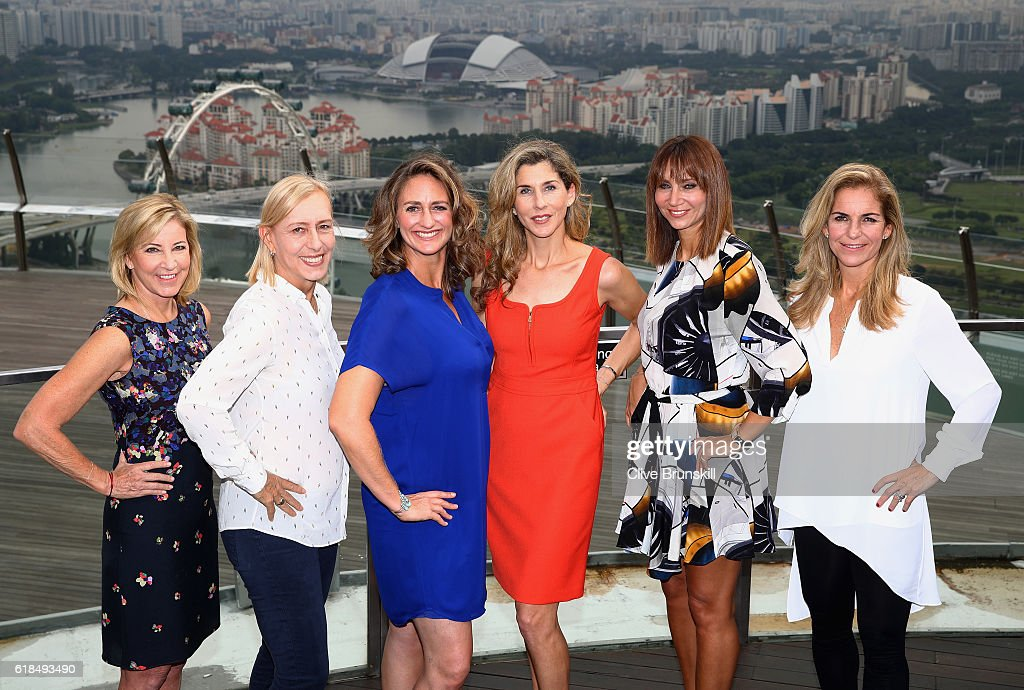 Legend Ambassadors (L-R) Chris Evert of the United States, Martina Navratilova of the United States, Mary Pierce of France, Monica Seles of the United States, Iva Majoli of Croatia and Arantxa Sanchez Vicario of Spain pose during day 5 of the BNP Paribas WTA Finals Singapore at Marina Bay Sands on October 27, 2016 in Singapore.