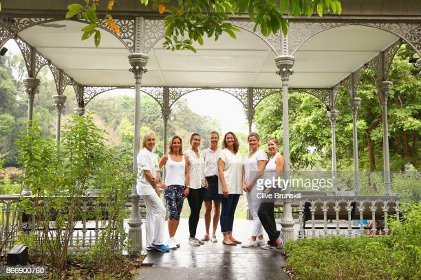 WTA Legend Ambassadors Martina Navratilova Arantxa Sanchez Vicario Iva Majoli Alicia Molik Mary Pierce Kim Clijsters and Chris Evert pose during day...